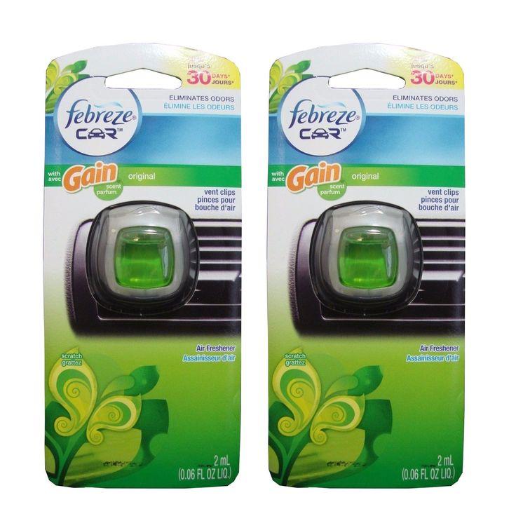 Febreze Car Air Freshener Vent Clips Original Gain Scent, 2 Pack (Car Freshener)