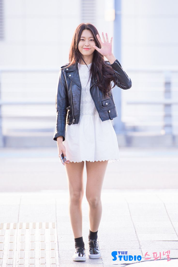 Leather jacket and a white dress