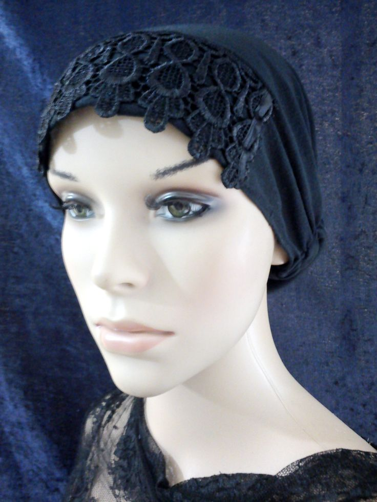 Lace Accent Front Bonnet Cap Chemo Scrub Hat Under Scarf Hijab