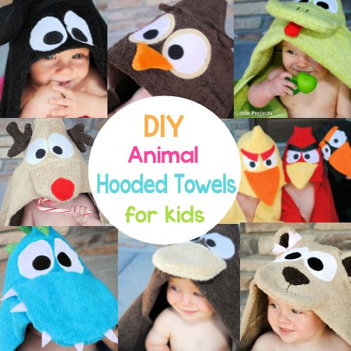 Animal Hooded Towels for Kids by Crazy Little Projects