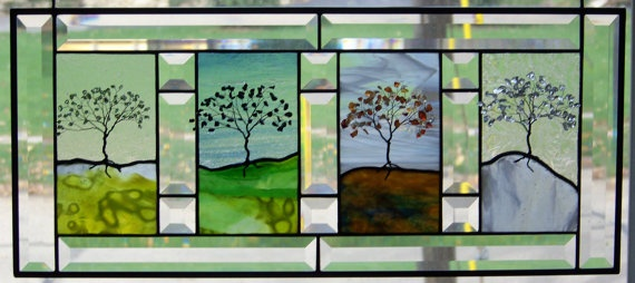 Four Seasons Stained Glass Panel by dreamglasscreations on Etsy