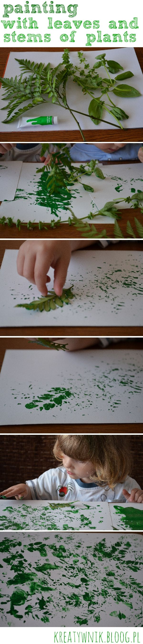 Painting with the leaves and stems of plants is a simple way to organize a really good fun for the little ones ...
