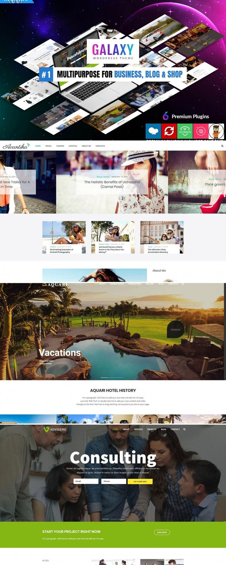 The Galaxy Is Full Of Different Pre Built Websites So You Can Easily Import Any Demo Website Within Seconds At 1 Cli Freelance Web Design Wordpress Theme Theme