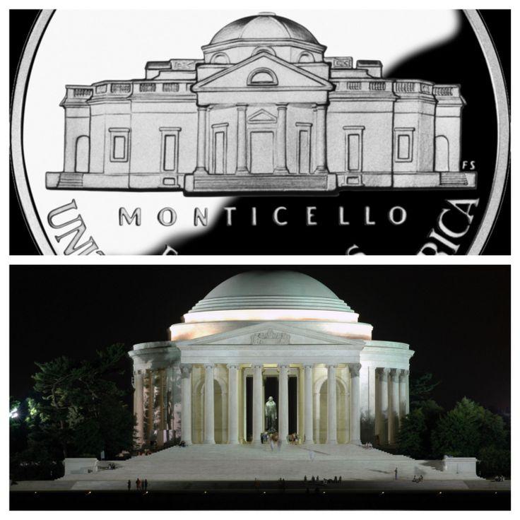 Dollaro americano e Jefferson Memoria. Le forme classiche del Pantheon hanno fortemente influenzato l'architettura americana.