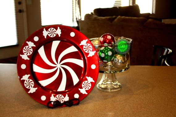 Peppermint Candy Decorative Charger Plate by RKAcreations on Etsy, $8.00