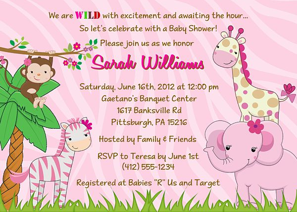 jungle animals baby shower invitations girl 100 each
