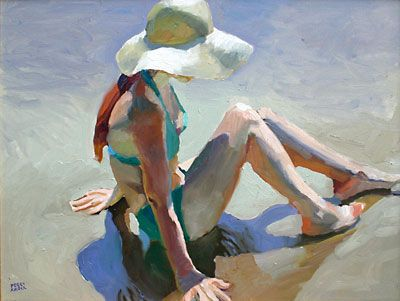 "Peggi Kroll-Roberts Figure with Beach Hat, Oil on Canvas, 18"" x 24"""