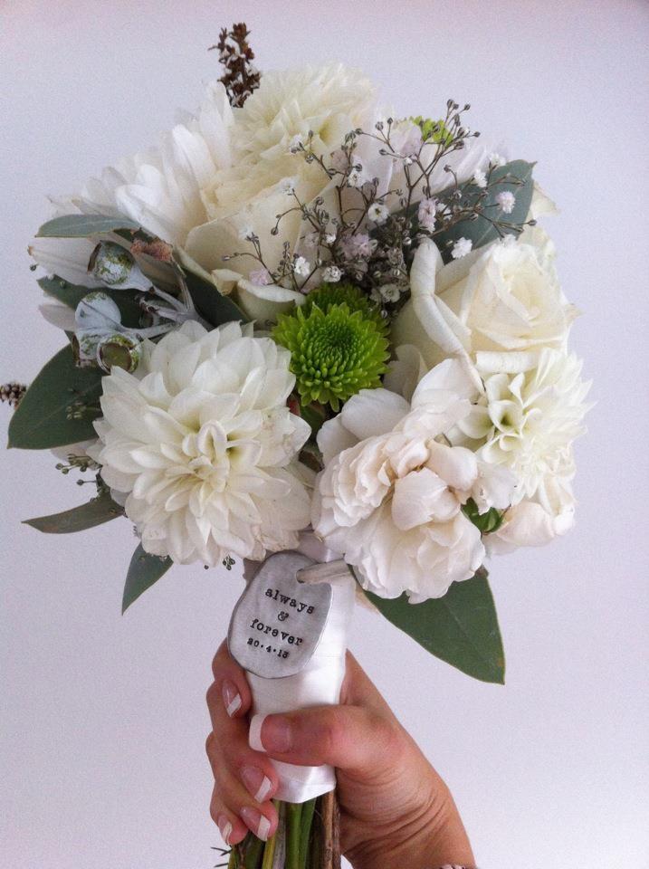 Wedding bouquet Babies breath Dahlia Gum David Austin Rose rustic white vintage