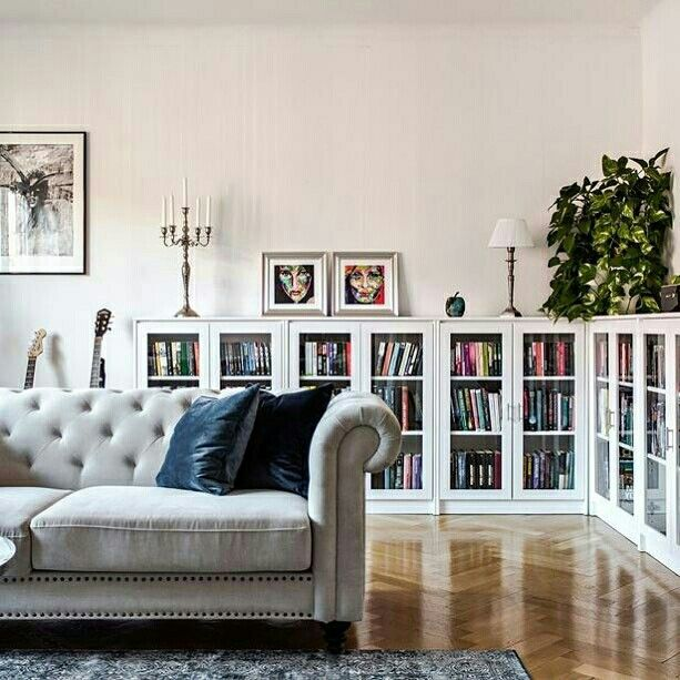 Pin By Polkadoter On Living Room Living Room Decor Apartment Ikea Living Room Bookcase With Glass Doors
