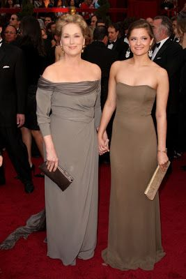 CELEBRITY BABIES: Actress Meryl Streep (L) and daughter Louisa Jacobson Gummer arrive at the 81st Annual Academy Awards held at Kodak Theatre on February 22, 2009 in Los Angeles, California.