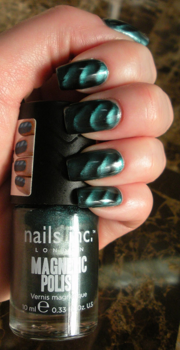 Nails Inc Magnetic Nail Polish Manicure using the color Whitehall Teal.
