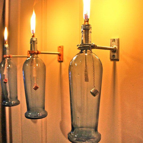 1 Wine Bottle Oil Lamp  by GreatBottlesofFire, $15.00
