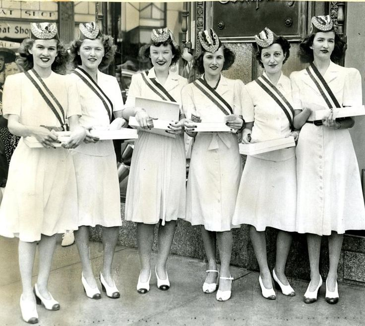 July 1, 1942: Boston retail stores opened a War Savings Bonds and Stamp Drive. The Chandler & Company store on Tremont Street kicked off their drive with these women selling bonds outside the store. From left, Virginia Brennan, Flora Brennan, Hildegard Burbridge, Irene Giers, Catherine Hayes, and Veronica Flaherty.