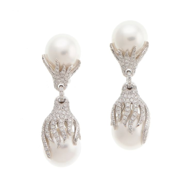 Pearl and Diamond Dangles — with P507436