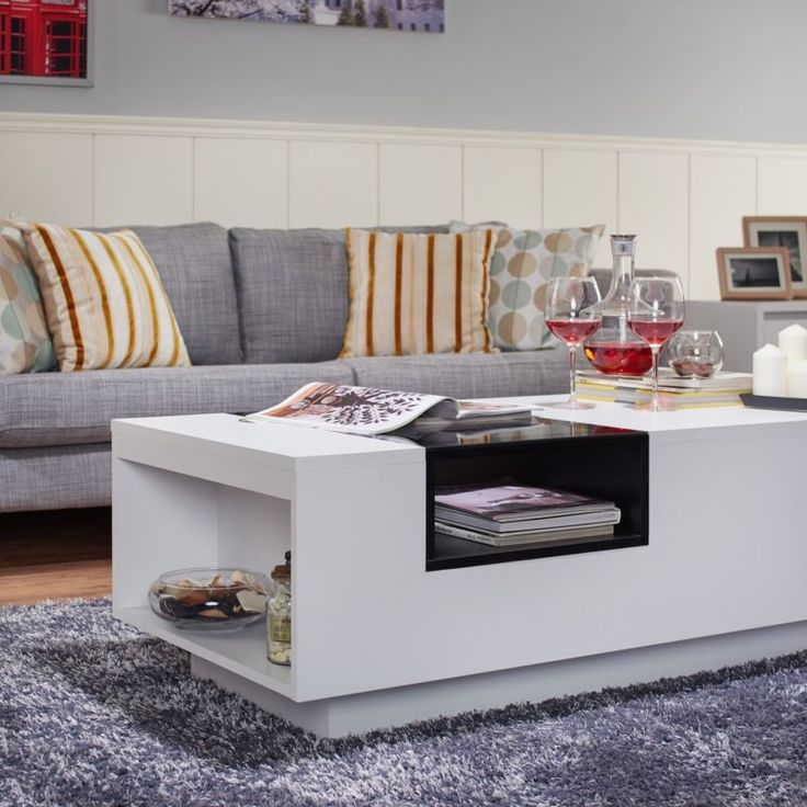 Kassalie Modern Two Tone White N Black Glass Top Coffee Table Center Table Part 89