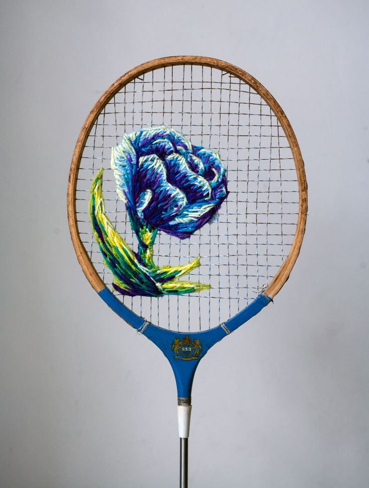 Flowers Embroidered on the Strings of Vintage Rackets and Other Thread Artworks…