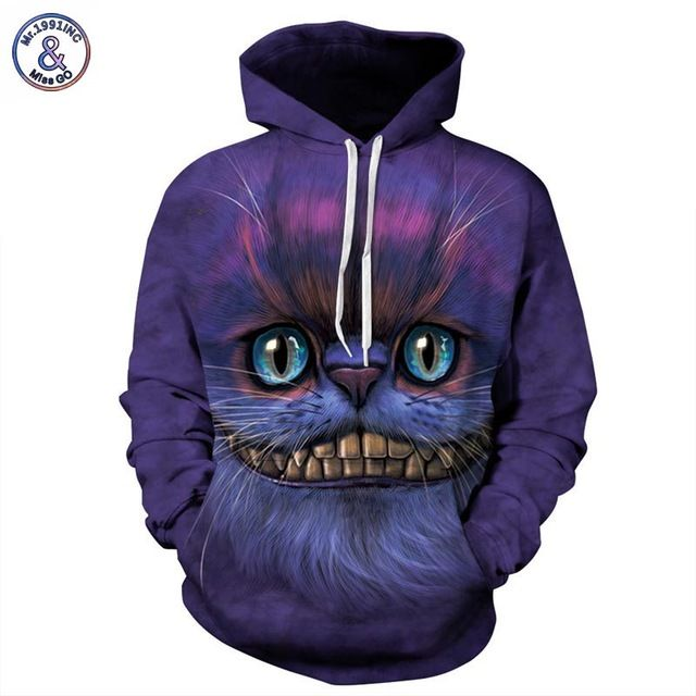 Buy now Mr.1991INC Autumn Winter Thin Stylish 3d Sweatshirts Men/Women Hoodies With Hat Print Cheshire Cat Hooded Hoody Tops just only $19.54 with free shipping worldwide  #hoodiessweatshirtsformen Plese click on picture to see our special price for you