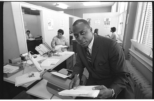 Vernon E. Jordan working on a voter education project at the Southern Regional Council, Atlanta Georgia. Photo by Warren K. Leffler, June 15, 1967. Library of Congress Prints and Photographs Division.