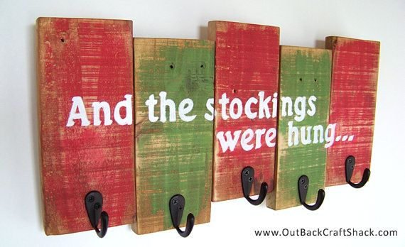 """Christmas Decorations: Stocking Holder, """"And the stockings were hung..."""", Rustic…"""
