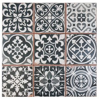 SomerTile 13x13-inch Faventia Nero Ceramic Floor and Wall Tile (Case of 10) - Overstock™ Shopping - Big Discounts on Somertile Floor Tiles