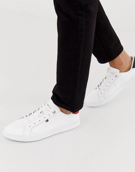 85cbf9c7 Tommy Hilfiger essential leather icon logo sneaker in white | ASOS Asos Men,  Tommy Shop