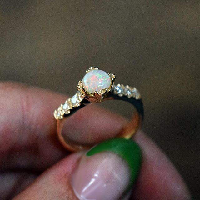 WEBSTA @ margaretcross - The cat's out of the bag! I can finally share this custom diamond encrusted Opal engagement ring, congratulations Alex