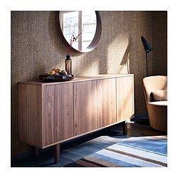 IKEA - STOCKHOLM, Buffet, beige, , Het druk-en-openbeslag geeft het dressoir een stijlvolle uitstraling omdat er geen handgrepen of knoppen nodig zijn.In het dressoir zitten twee ruime lades en een verstelbare plank van walnootfineer en massief hout.Door de verstelbare doppen staat het dressoir ook stevig op ongelijke vloeren.
