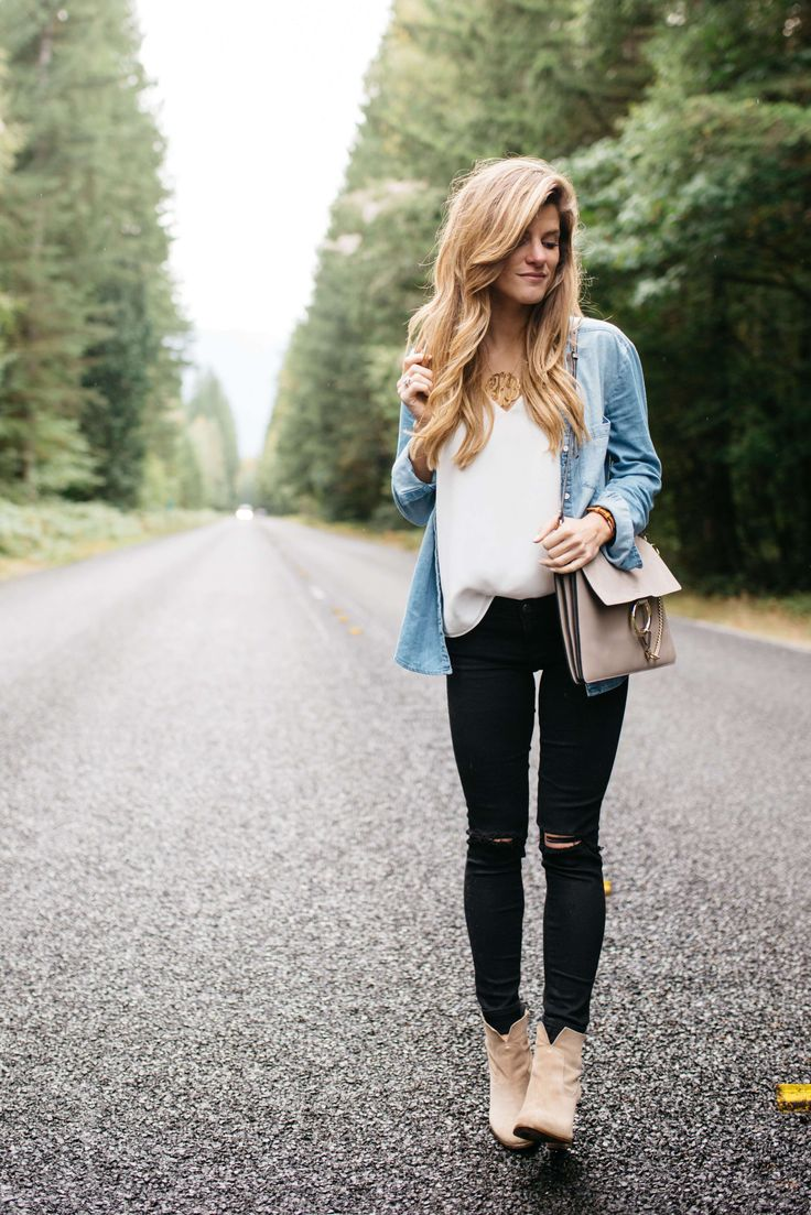 black jeans outfit white tank chambray shirt vince camuto booties, fall transitional outfit, cute fall outfit idea, chambray shirt outfit, how to wear a chambray shirt, denim shirt outfit