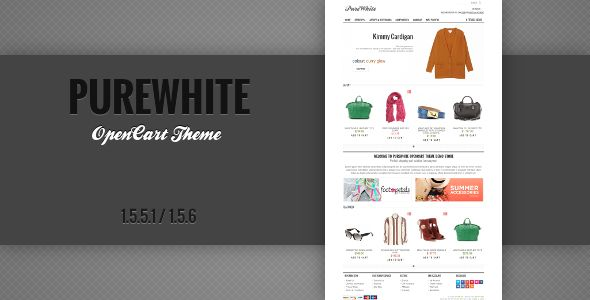 PureWhite is ultra light OpenCart Theme with a clean modern design. The elegant way to speed up your web store.     Easy to install and customize     Does not require core files replacement     Ultra light     New look of product page     Multi language support     Font Awesome Icons