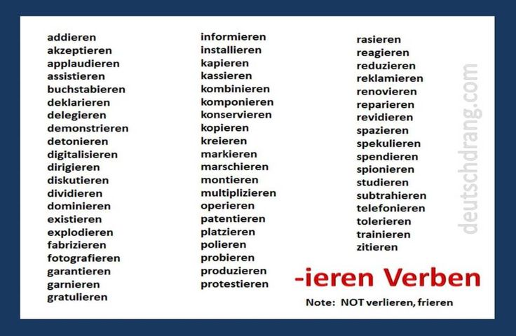 Various vocabulary expansion activities for German verbs that end in --ieren. Powerpoint: http://deutschdrang.com/dir/wp-content/uploads/2013/02/ieren-verbs.pptx You can also find two online exercises to go with the same verbs here: http://deutschdrang.com/dir/online-exercises/4055-2/