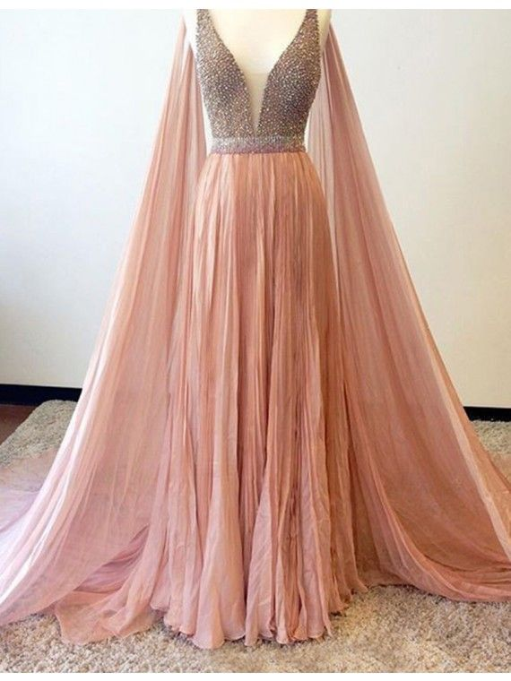 Elegant A-line V-Neck Sleeveless Watteau Train Peach Prom Dress with Beading