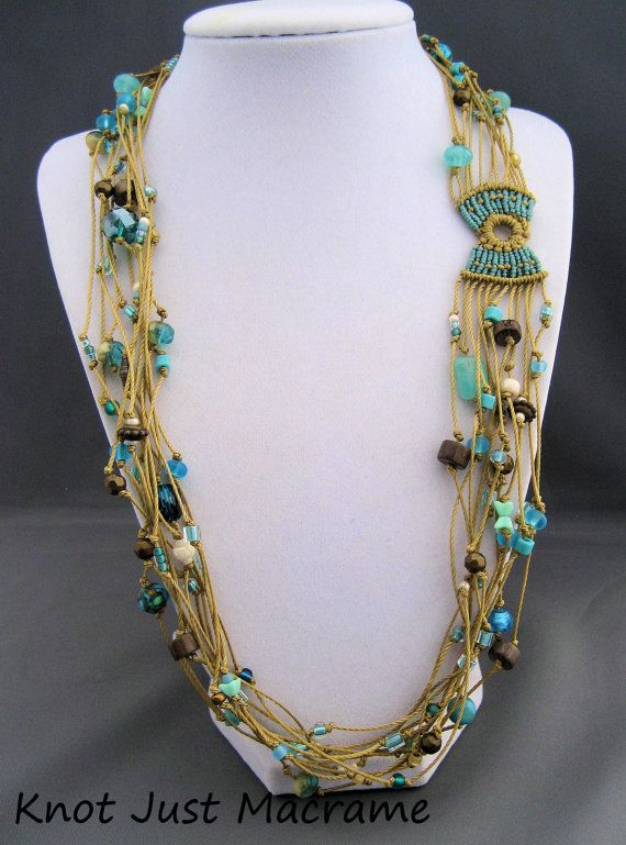 Beachy Multi Strand Beaded Macrame Necklace by KnotJustMacrame, $44.99