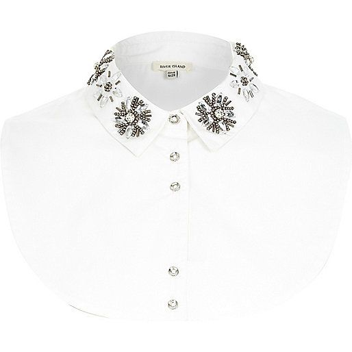 White embellished collar bib - collar bibs - accessories - women