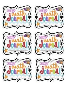Super cute printable Math Journal Labels for cover of journals plus journal instructions for inside the front cover.More info here... http://www.livinglaughingandloving.com/2012/09/math-notebooking-journals-free-printables.htmlClip art from http://www.teacherspayteachers.com/Store/Phyllis-Harris and http://www.scrappincop.com/2010/06/cu-ok-doodleframes-custom-shapes-and.html