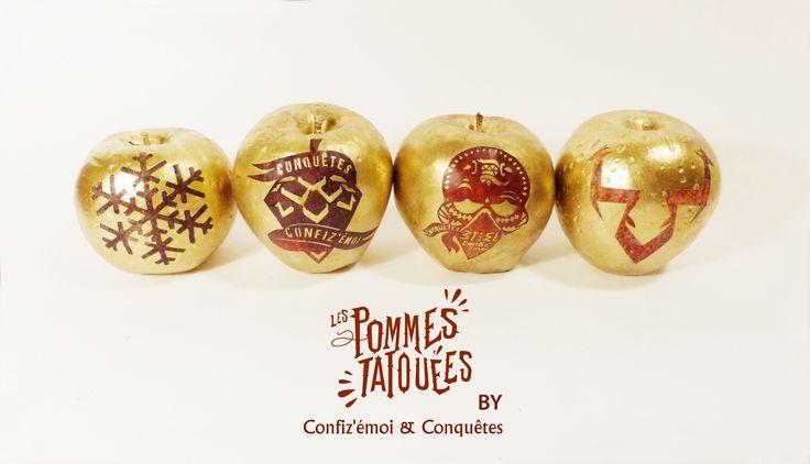 <<Les pommes tatouées>> décorées pour les vitrines de Noël. #Conquêtes & Confiz'émoi