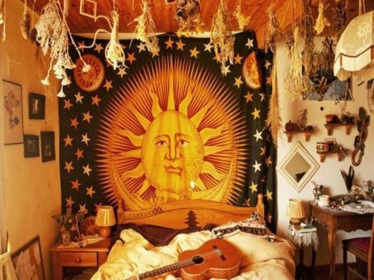 Bedroom, Modern Hippie Bedroom Ideas Wall Mounted Wooden Rectangle White Brown Bookcas Beige Headboard Red Line Pattern Quilt Black Wood Bunk Bed Cone Lamp Shade: Charming Decorating