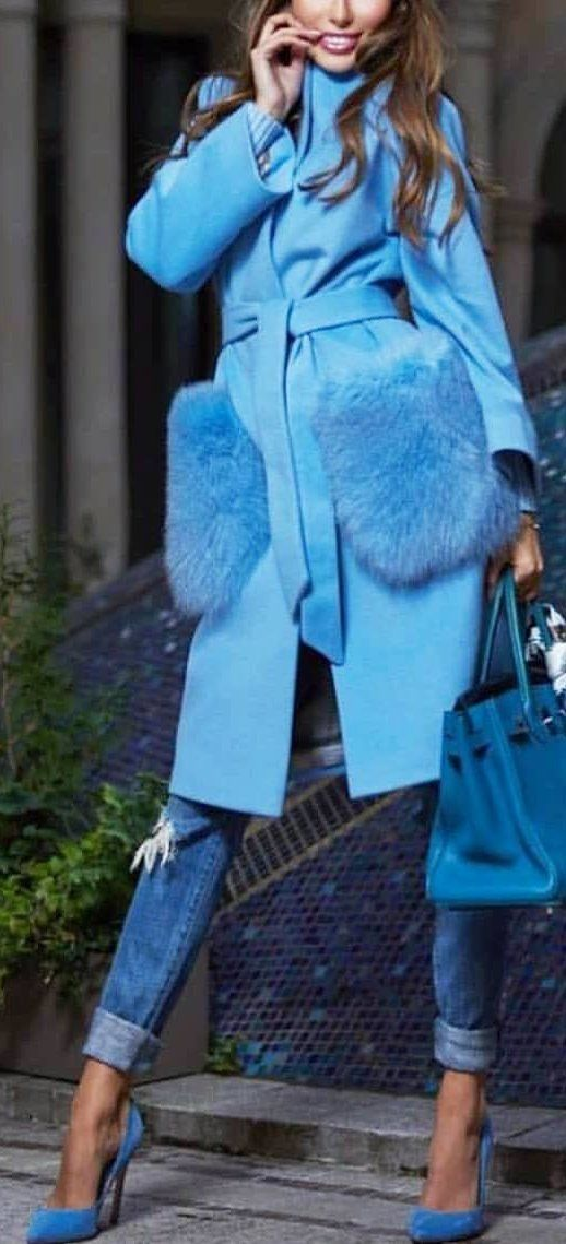 #winter #outfits blue coat and blue denim jeans