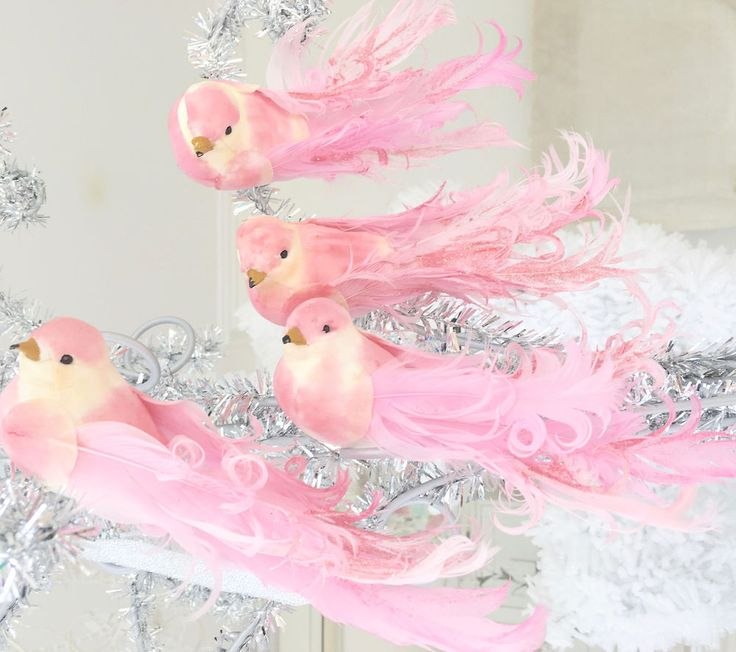 Set Shabby Chic 4 Pink Glitter Feather Birds Christmas Decorations Ornaments New