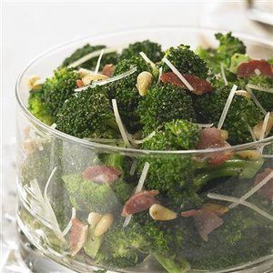 Broccoli with Bacon and Pine Nuts Recipe. For this recipe, it is worth it to purchase a wedge of Parmesan cheese instead of pre grated Parmesan cheese. Shred it using the large holes of a grater or shave it using a swivel peeler.