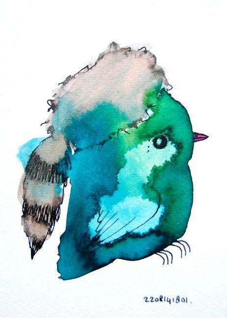 Originele aquarel vogel, kinderkamer, groen en blauw, vogel met een bontmuts, klein schilderij on Etsy, €15,95