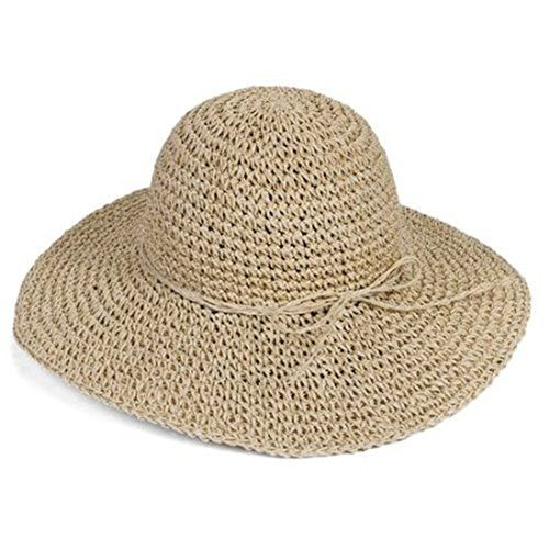 Wowlife NEW Retro Women Ladies Wide Brim Roll-up Crocheted Hats Bohemia Straw Sun Hat for Holiday Travel Beach (Beige)