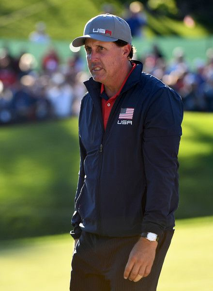 Phil Mickelson of the United States looks on during afternoon fourball matches of the 2016 Ryder Cup at Hazeltine National Golf Club on September 30, 2016 in Chaska, Minnesota.