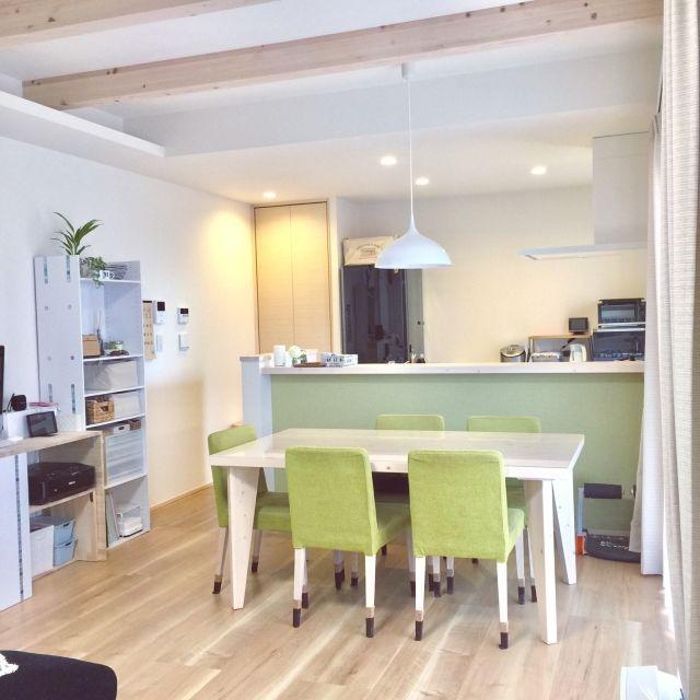 kiinaさんの、部屋全体,観葉植物,ダイニング,木の家具,建売住宅,スッキリ暮らしたい,緑色が気に入らない,のお部屋写真