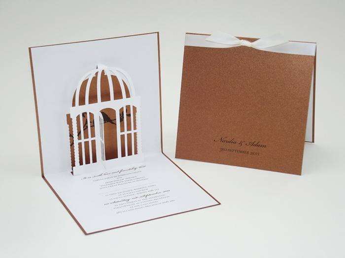 Wedding Invitations Birdcage: Pop Up Birdcage Wedding Invitation