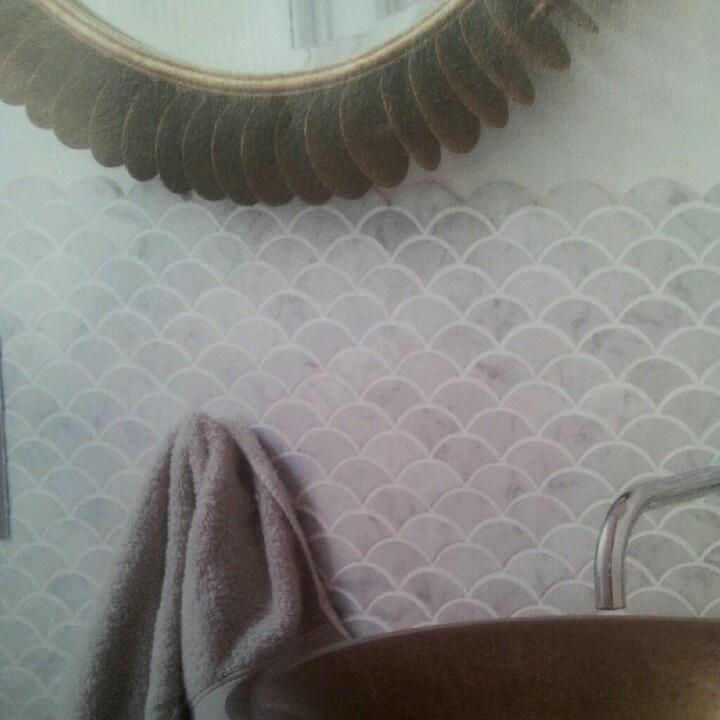 Carrara fish scales mosaic tiles