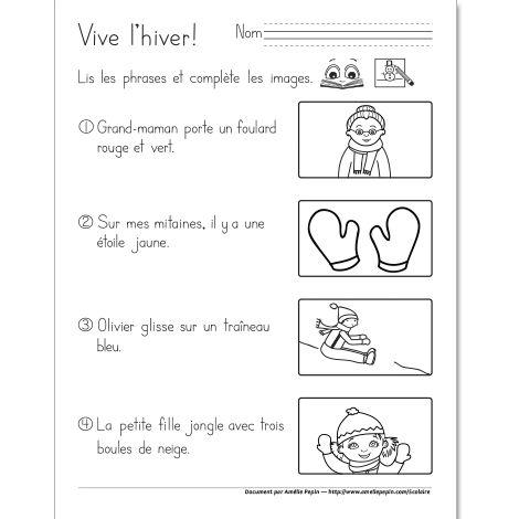 Fichier PDF téléchargeable En noir et blanc 1 page L'élève de 1ère année doit lire les phrases et compléter les images. Le document contient 4 numéros, 1 page.