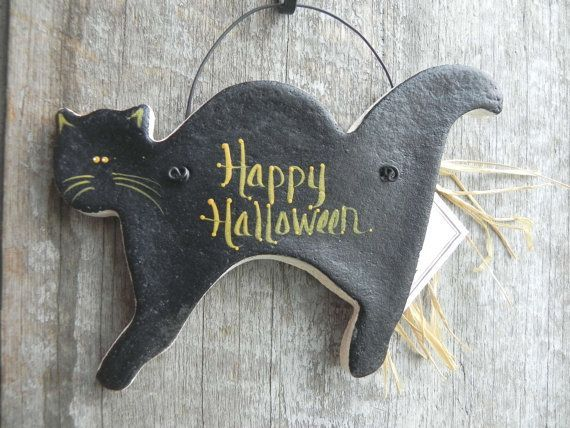Halloween Black Cat Salt Dough Ornament – #Black #…