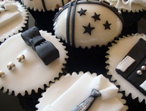 I also like the assortment of ties, even bow ties. but still keep with the black, white, and silver. we could even do mini cupcakes with a bow tie..