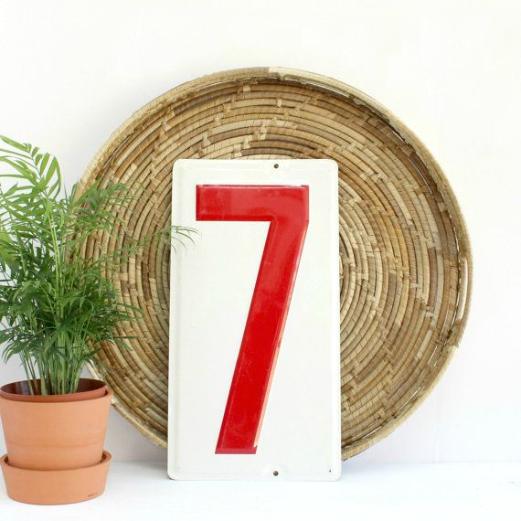 Vintage gas station number. Number 7 metal sign. Measures 19 inches tall and 10 inches wide. Good vintage condition. Please note there is a hole at the top and bottom but they are not centered. This piece makes really fun wall decor!  SHIPPING  There is a flat shipping rate of $12.65 per item. If you are planning to purchase multiple items, please feel free to contact me (NicoleMndz@gmail.com) for a combined shipping rate, as this is sometimes possible. Please read my policies page for more…