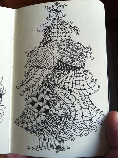 Zentangle Christmas tree by Hollyw54, via Flickr